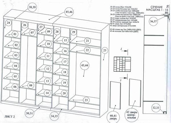 Как сделать шкаф купе чертежи
